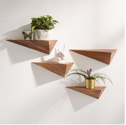 Unique pyramid wall shelf ideas, creative wooden pyramid wall shalves