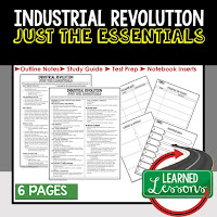 Industrial Revolution, World History Outline Notes, World History Test Prep, World History Test Review, World History Study Guide, World History Summer School Outline, World History Unit Overview, World History Interactive Notebook Inserts