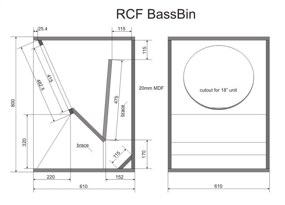 Box speaker RCF 18 INCH - box speaker plans