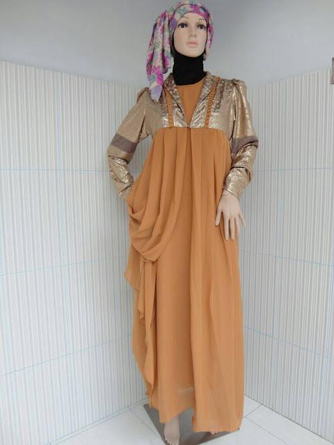 Model Gamis Sifon Cokelat Untuk Pesta Pernikahan