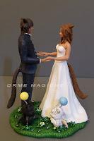 cake topper cake videogiochi sposi  mano nella mano gatti lombardia orme magiche