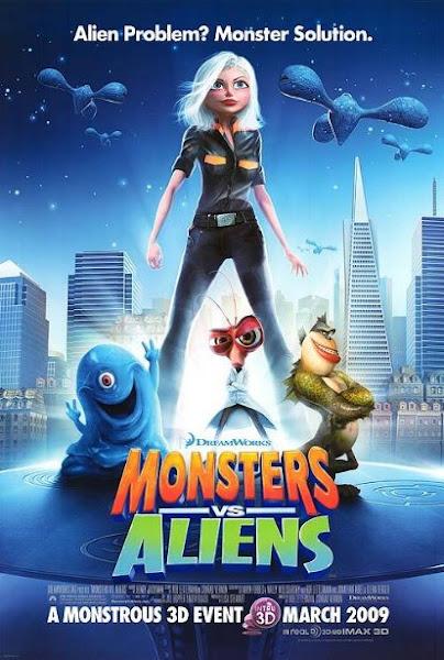 Poster Of Monsters vs Aliens 2009 720p Hindi BRRip Dual Audio Full Movie