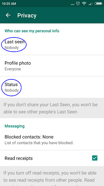 disabled whatsapp last seen status