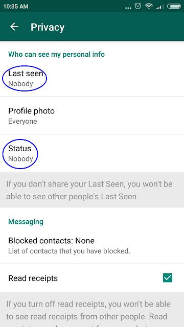 disabled whatsapp last seen status