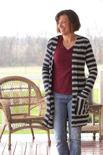Helen's Closet Blackwood Cardigan made from a Style Maker Fabrics' knit jersey.
