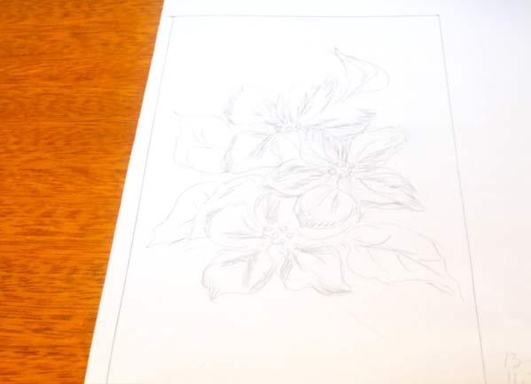 Pintura una tarjeta flores con acuarelas