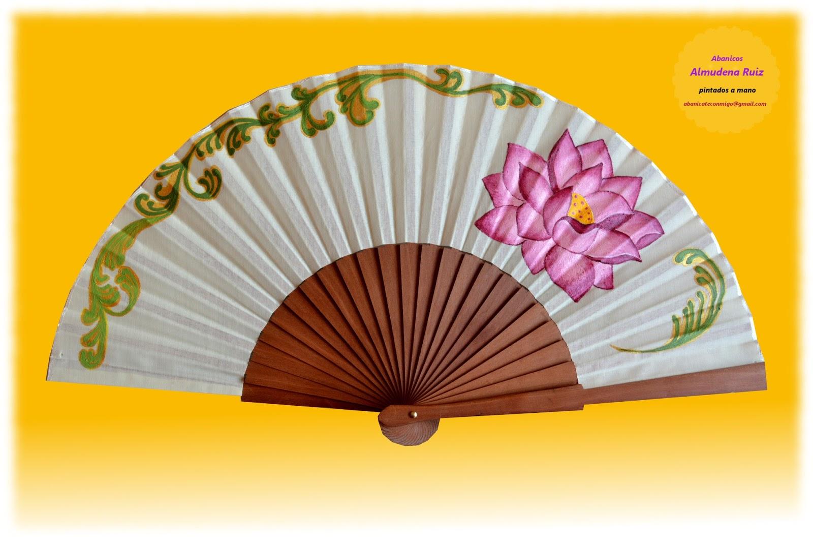 Flor de loto abanicos pintados a mano abanicate conmigo - Como pintar abanicos ...