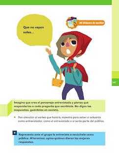 Apoyo Primaria Español 1er grado Bimestre 4 lección 10 Hacemos una entrevista imaginaria