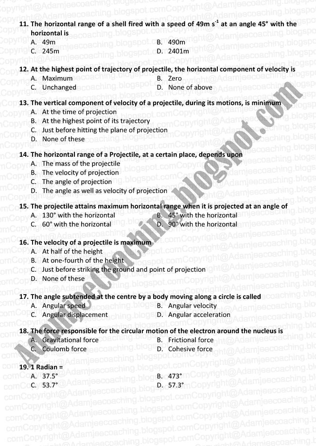 Physics Karachi Board XI - Motion In Two Dimension Mcqs