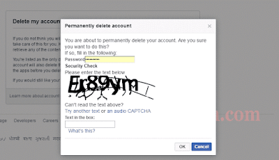 permanent delete facebook account  pasword bhare