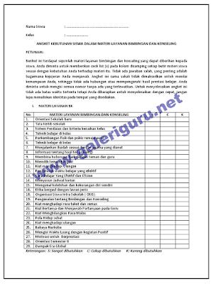 Contoh Angket Bimbingan Konseling (BK) Siswa SMP SMA dan SMK
