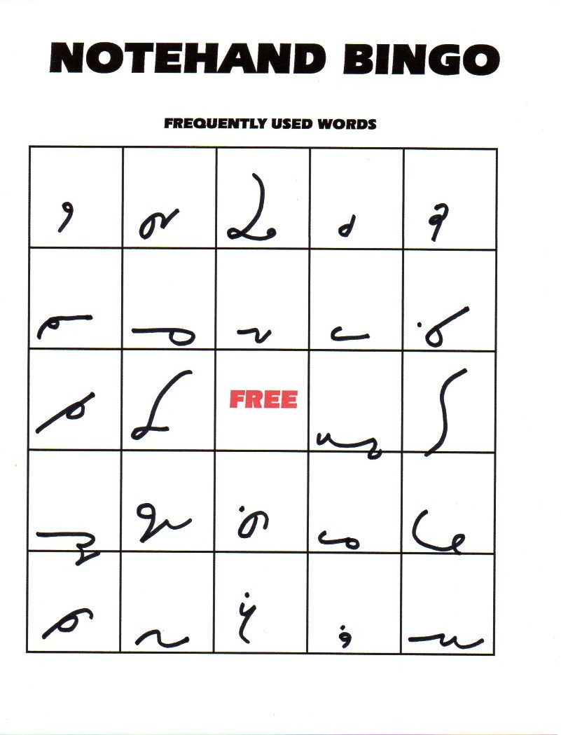 Notehand bingo gregg shorthand attached is a pdf file which contains two different notehand bingo games with which to practice your notehand skills 1 brief forms and 2 100 buycottarizona