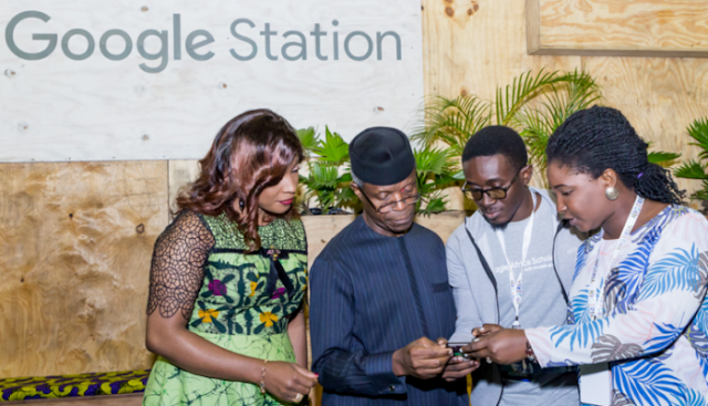 The Vice President, Prof. Yemi Osibanjo being put through on How Google Station works.