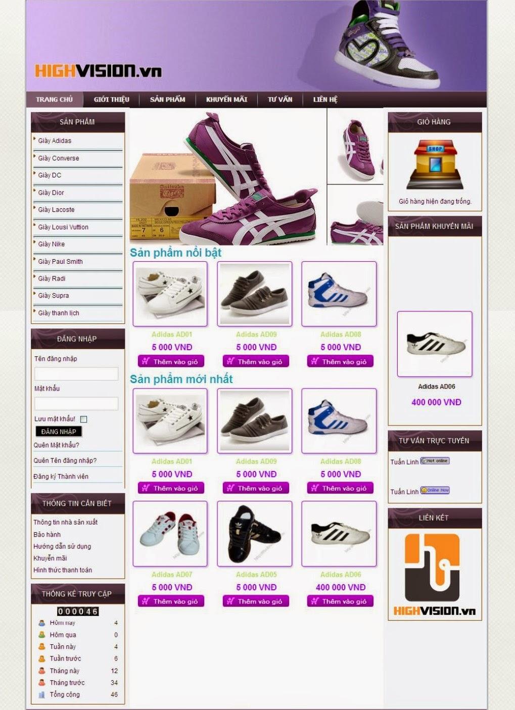 dịch vụ thiết kế web bán hàng giầy thể thao