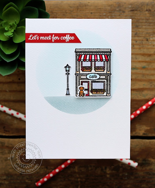Sunny Studio Stamps: City Streets Let's Meet For Coffee Cafe Card by Vanessa Menhorn.