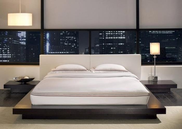 japon tarzı sade yatak odası dekorasyonu