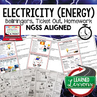 Electrical Energy Bellringers, Physical Science Warm-Ups, Science Warm-Ups, Science Inquiry Warm-Ups, Physical Science Bellwork, Science Bellwork, NGSS Bellwork, Science Bellringers