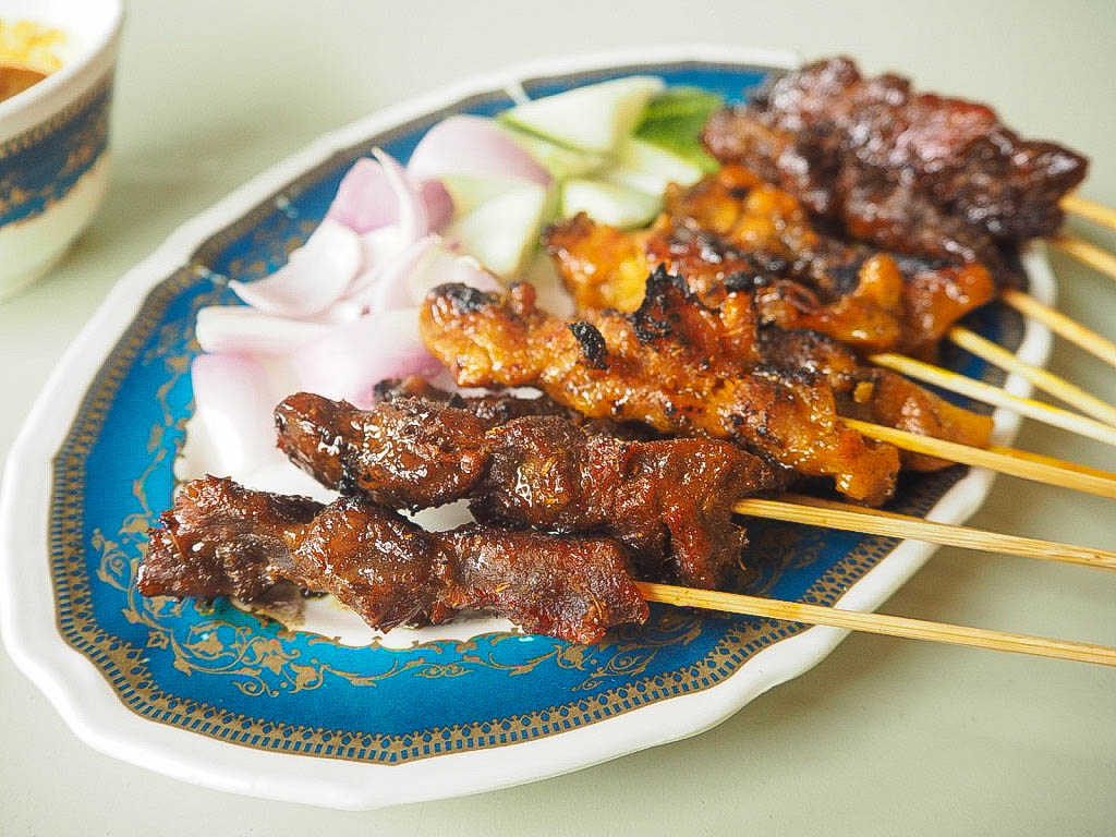 Mutton, chicken and beef satay sticks