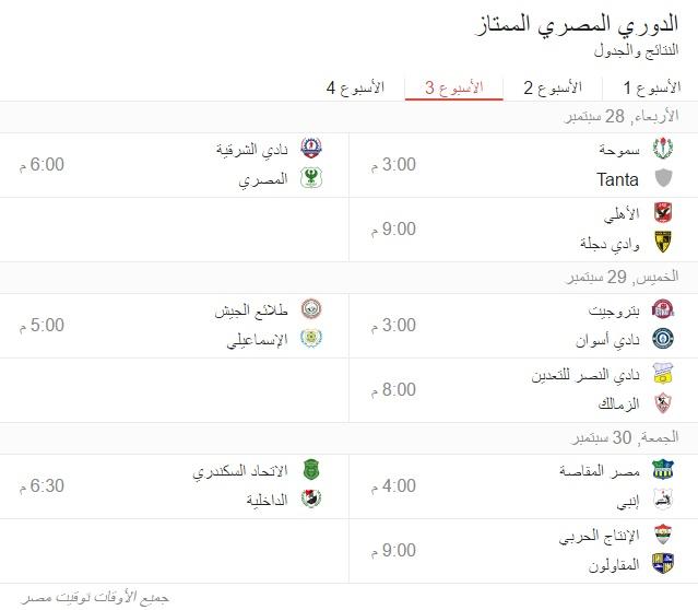 جدول مواعيد مباريات الدورى المصرى