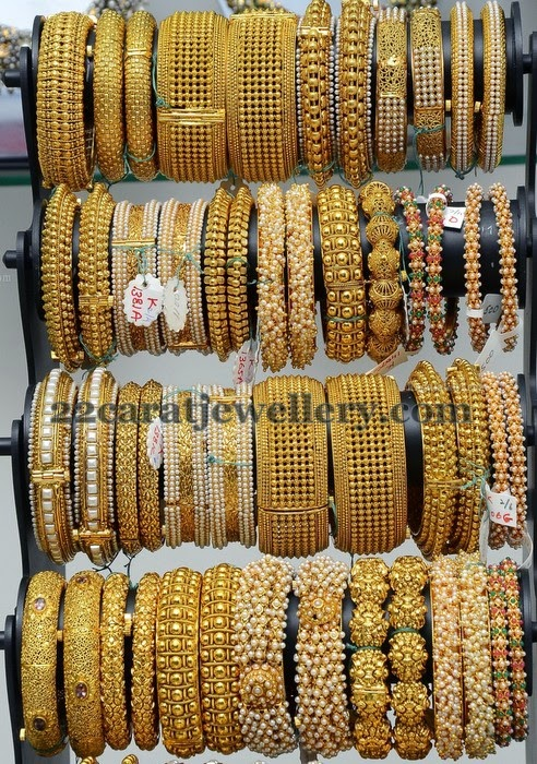 Latest Pearls And Gold Bangles Gallery Jewellery Designs