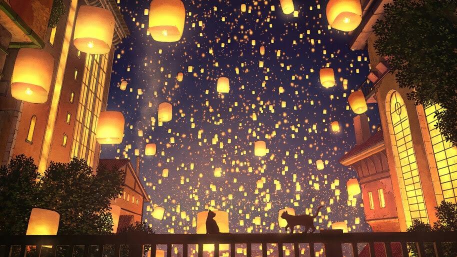 Anime, Sky Lantern, Cat, Night, Scenery, 4K, #4.2452