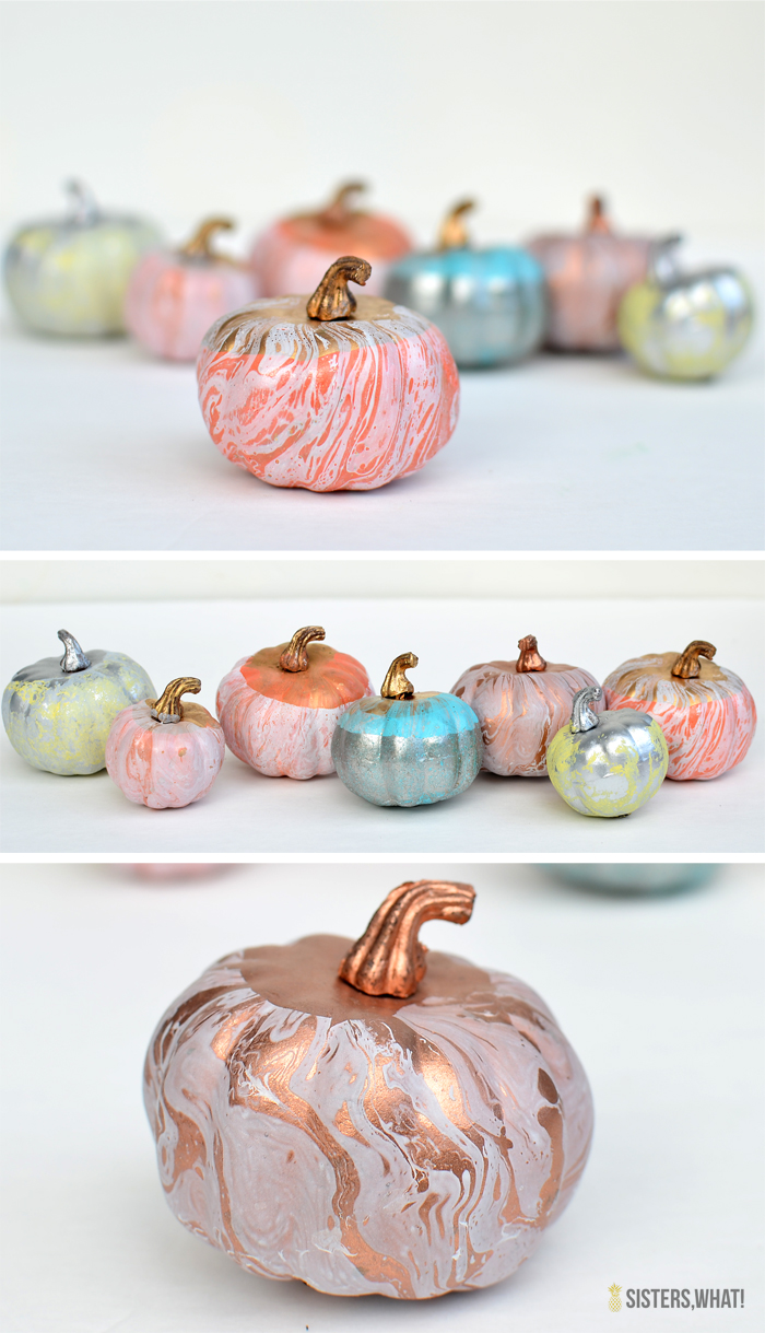 ooooh!! use spray paint to marbleize fake pumpkins!!!