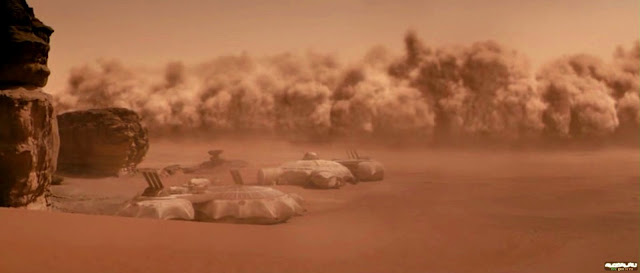 Sandstorm and Base from The last days on Mars movie