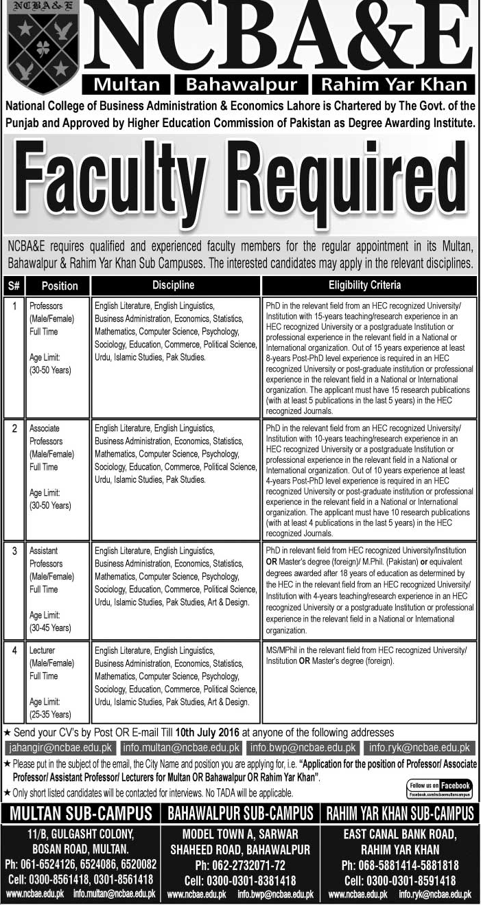 Lecturers and Faculty Jobs in NCBA&E at its all campuses for Different Subjects