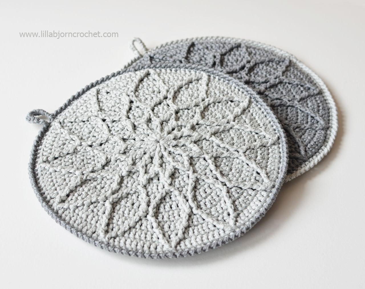 Minimalist Cabled Mandala potholder - crochet pattern by Lilla Bjorn Crochet