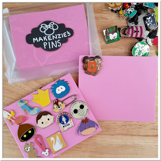Easy to make DIY pin trading pouches for storing and organizing Disney Parks pins  |  3 Garnets & 2 Sapphires
