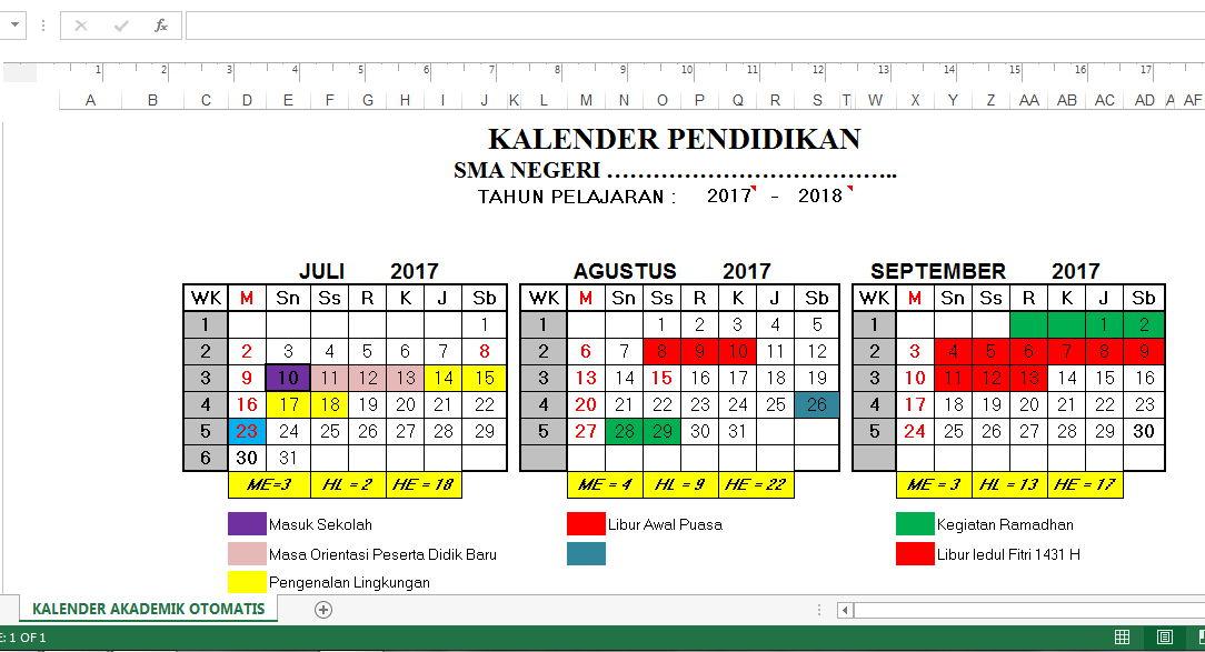 Aplikasi Pembuatan Kalender Akademik Pendidikan Otomatis