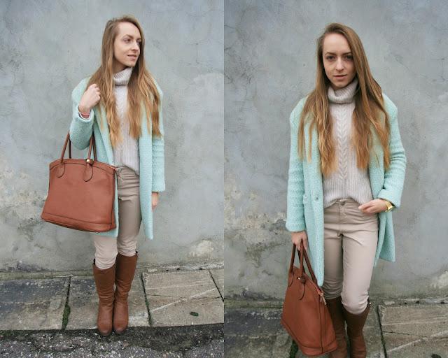 Beige and mint green combination | Miętowy płaszcz i brązowe dodatki