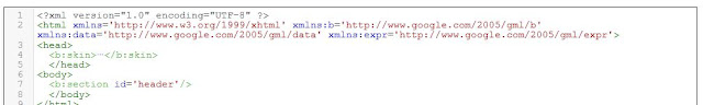Blogger add the XML declaration and XML element in HTML code