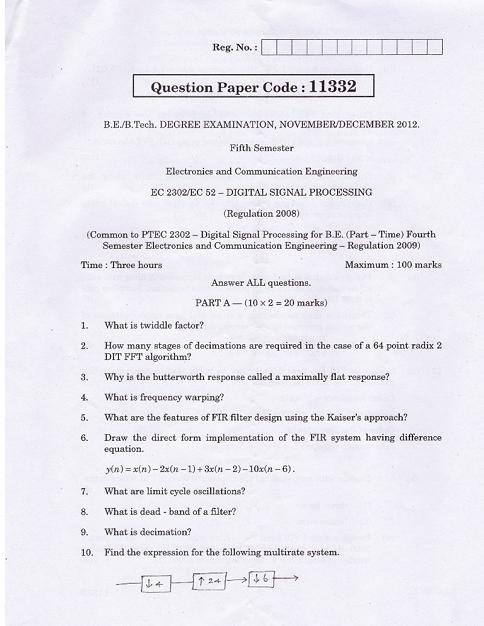 EC2302 Digital Signal Processing Nov Dec 2012 Past Exam