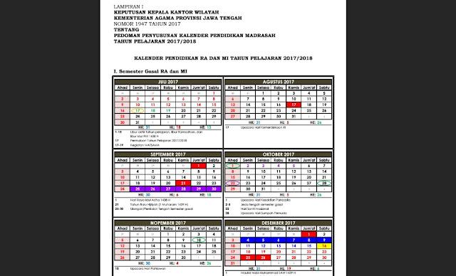Download Pedoman Penyusunan Kalender Pendidikan Madrasah Tahun 2017/2018