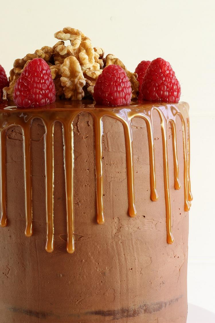 Schokoladen-Karamell-Walnuss-Himbeer-Torte - Drip Cake 3