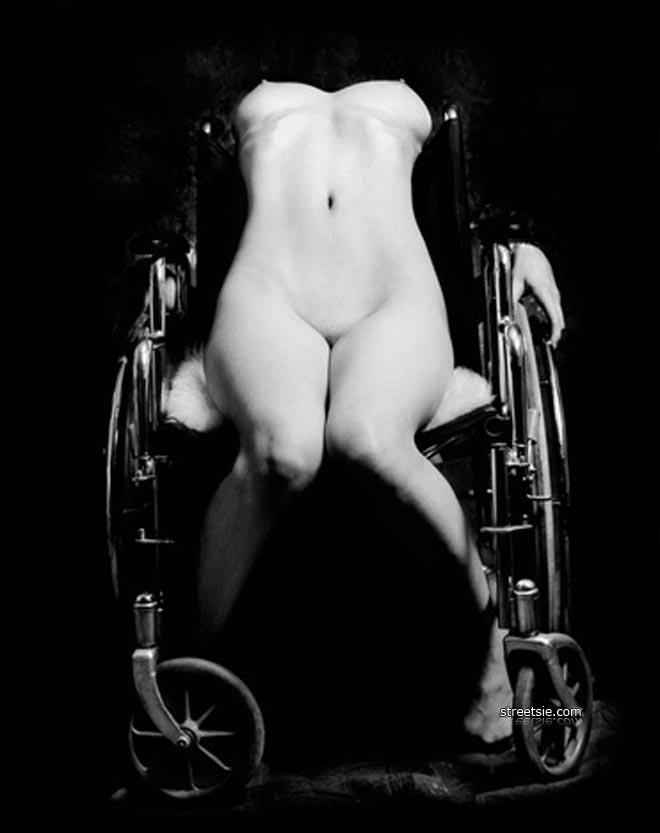 Paraplegic in wheelchair face fucks a slut