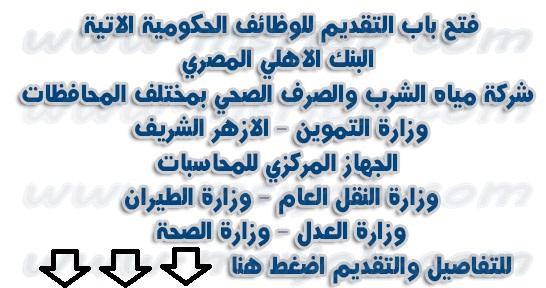 مجموعة من الوظائف الحكومية لجميع المؤهلات بمختلف محافظات مصر