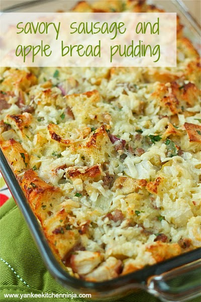sausage and apple bread pudding