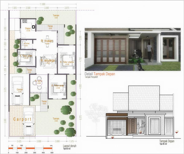 Gambar 10 Ide Denah Rumah Minimalis 1 Lantai 3 Kamar Tidur ...