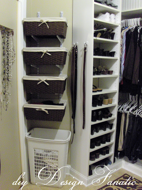 track brackets, baskets, master closet, organization, storage shelves, add space to your closet