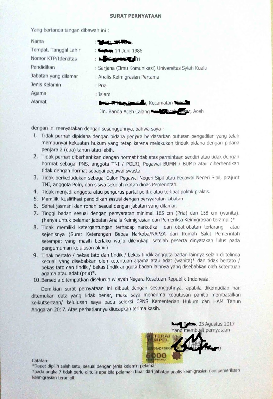 Contoh Surat Pernyataan CPNS Kemenkumham Terbaru - List Kerja