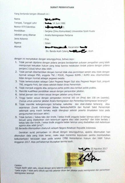 Surat pernyataan cpns untuk jenjang S1, D3, dan SMA