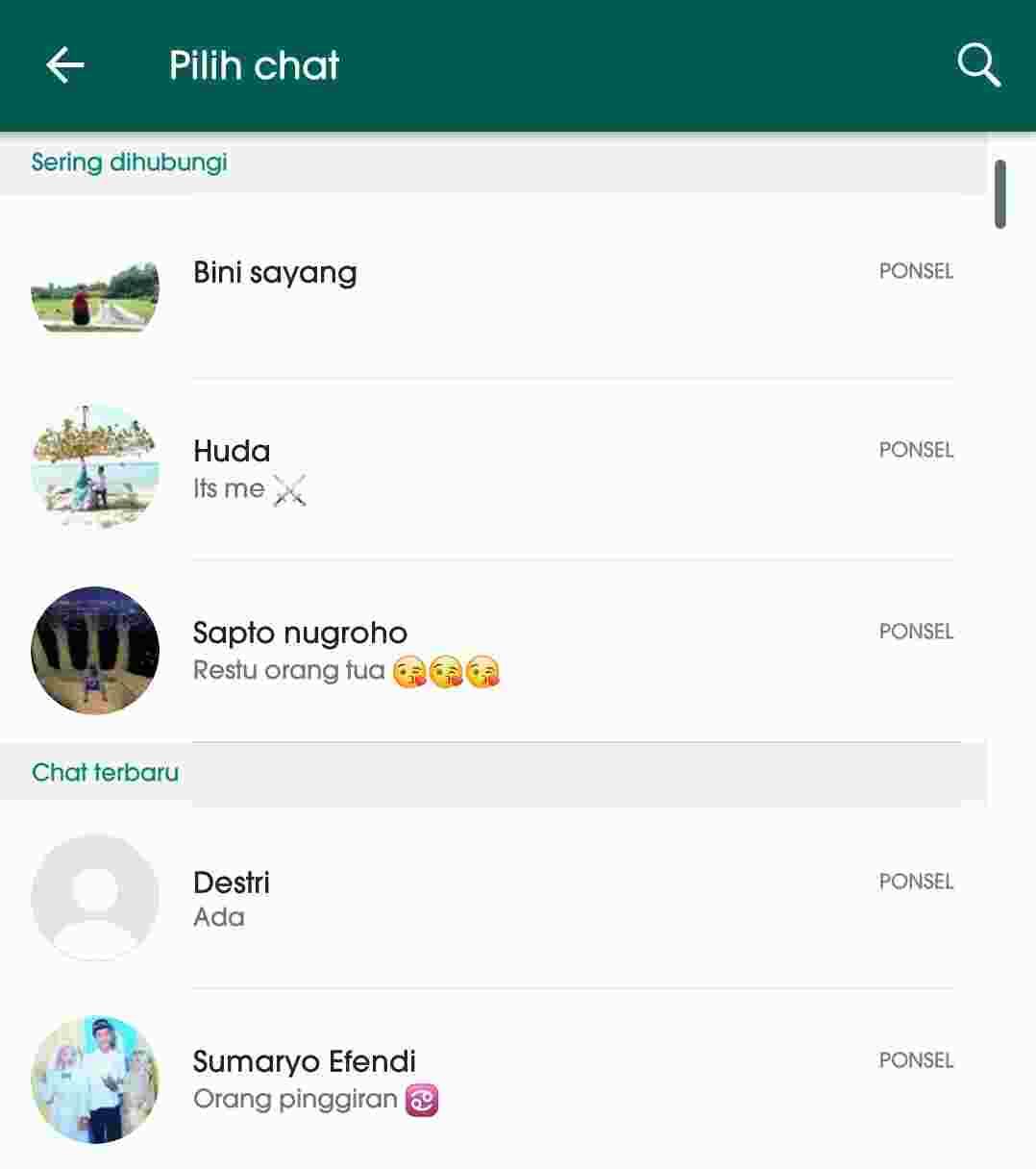 Cara mengetahui orang yang sering chat dengan pacar kamu di WhatsApp 5