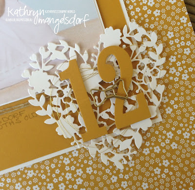 Stampin' Up! Onstage Display Stampers: Bloomin' Heart Thinlits and Large Number Framelits, Delightful Dijon Scrapbooking Page by Kathryn Mangelsdorf