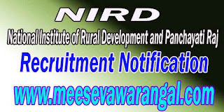 NIRD (National Institute of Rural Development and Panchayati Raj) Recruitment Notification 2016
