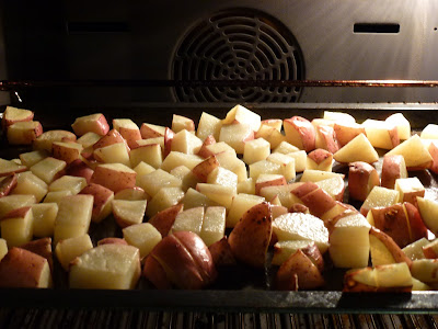 potatoes on a baking tray