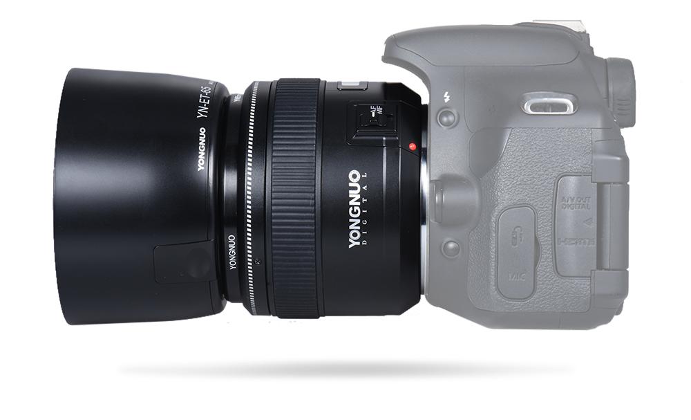 Объектив Yongnuo YN 85mm f/1.8 на камере