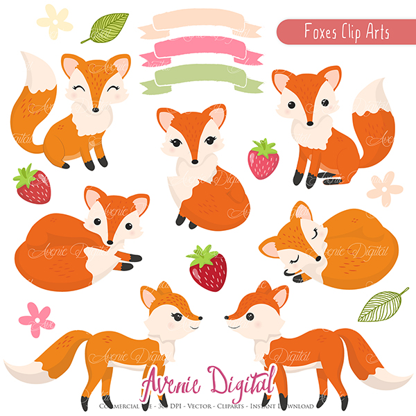 Free Cute Fox Clipart Scrapbook printables, Autumn clip art set ...