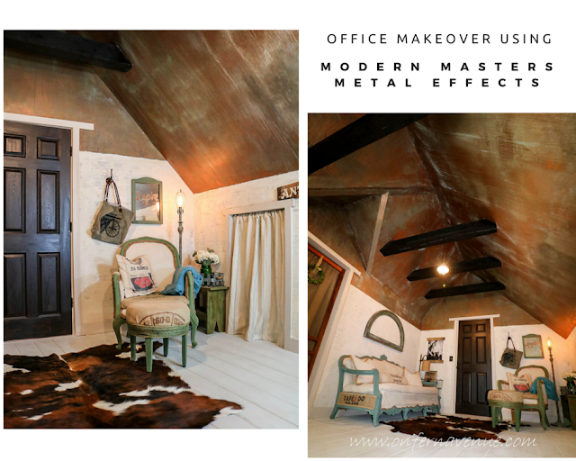 Fern Avenue Blog Office Makeover Using Modern Masters Metal Effects Green Patina